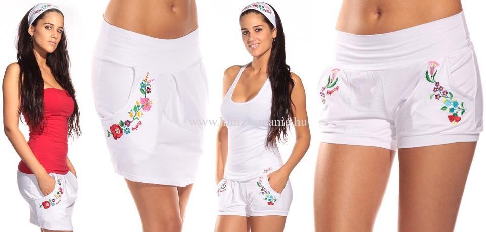 Kalocsai mintás fehér szoknya és rövid nadrág