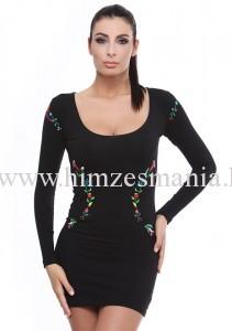 Kalocsai mintás fekete alkalmi ruha