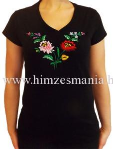 Kalocsai V-nyakú fekete póló