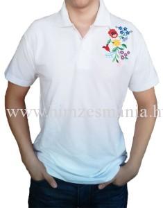KKalocsai fehér galléros póló