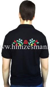 cKalocsai hímzett fekete férfi póló