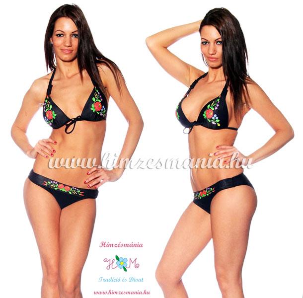 Kalocsai nyomott mintás fekete bikini