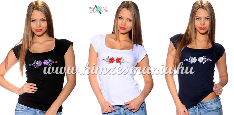 Kalocsai rózsa mintával hímzett pólók