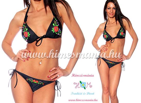 Fekete kalocsai mintás bikini